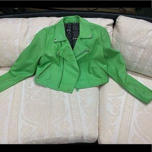 Jackets & Coats - Green Leather Empower Design Jacket